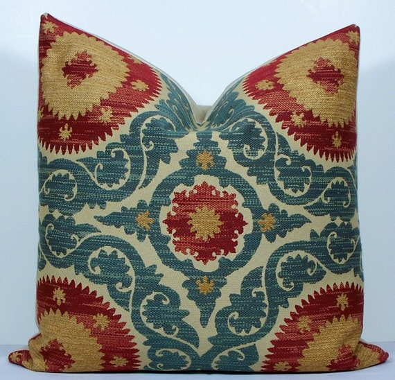 Decorative pillow cover - Suzani - 20x20 - throw pillow - accent pillow - teal blue - red - gold - tan - Chenille