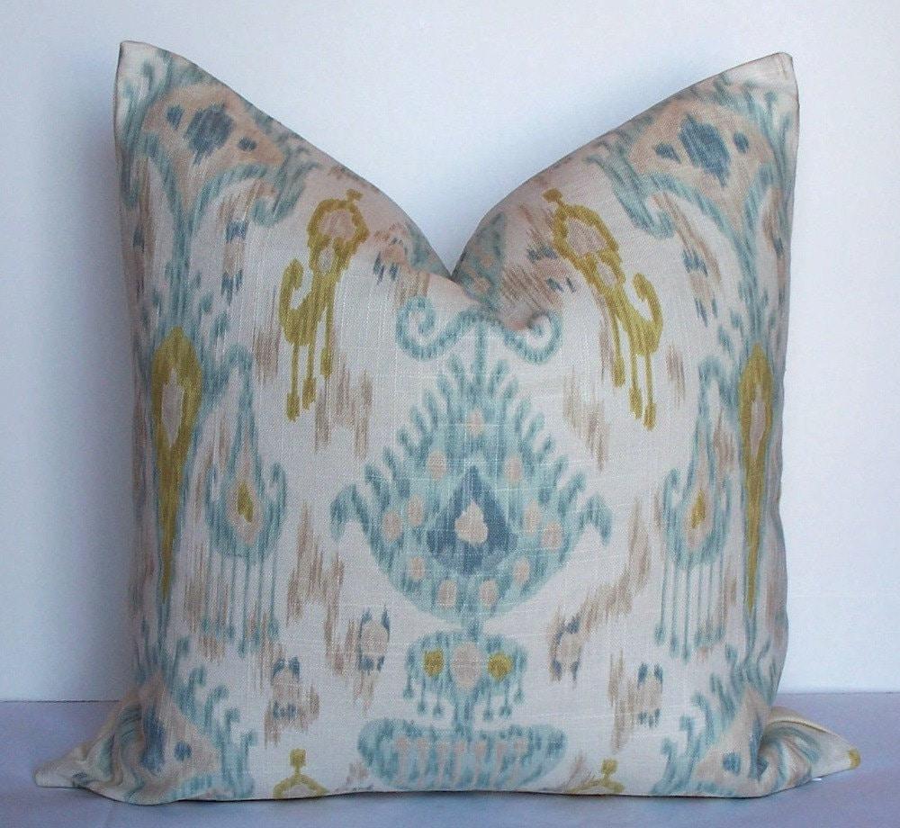 Aqua teal IKAT Robert Allen Decorative pillow cover BOTH SIDES