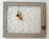 Wall Hanging Earring Holder - Jewelry Holder - Rustic Frame With Lace - AS IS - Discount - Sale