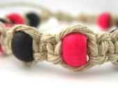 Hemp Anklet - Black and Hot Pink  - Thick