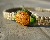 Sea Turtle Hemp Bracelet, Natural Hemp with Cute Turtle Bead