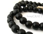Wood Beads, Black Onyx Round, 5x6mm - 50pc
