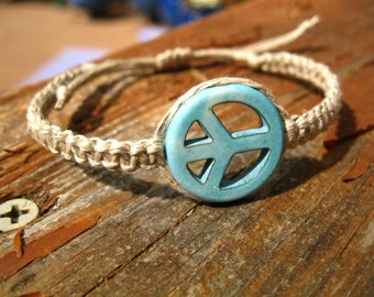 Hemp Bracelet, Peace Sign - Turquoise Blue Magnesite Peace Sign