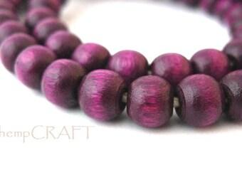 Wood Beads, Purple, Dark Plum Color, 5x6mm, 100pc