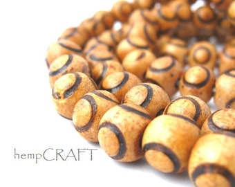 Natural Wood Beads, Circles, Light Brown, 9mm