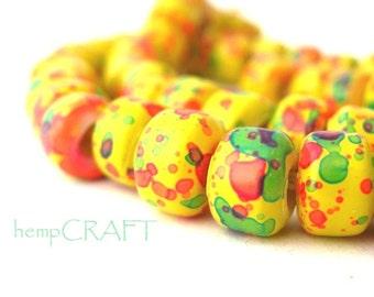 Crow Beads, Rasta Glass Pony Beads, Yellow Green Red - 50pcs - 9mm