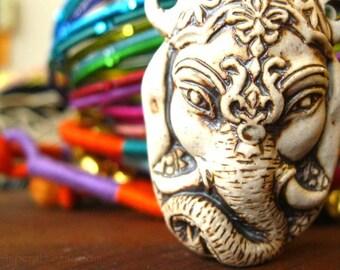 Ceramic Bottle Pendant - Ganesha - High Fired Clay Vessel