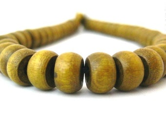 Wood Beads, Olive Green - Large Wooden Crow Pony Beads 6x10mm - Large Beading Hole - 50pc