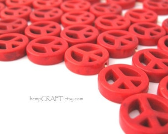 Peace Sign Beads, Red Magnesite Small 15mm - 12pc