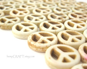 Peace Sign Beads, White Magnesite Small 15mm - 12pc
