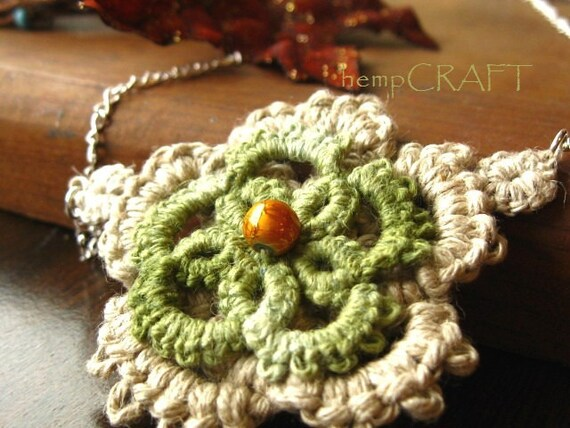 Tatted Hemp Flower Necklace - Earthy Green Natural Lace