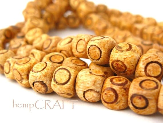 Natural Wood Cube Beads Circles, Light Brown, 8mm