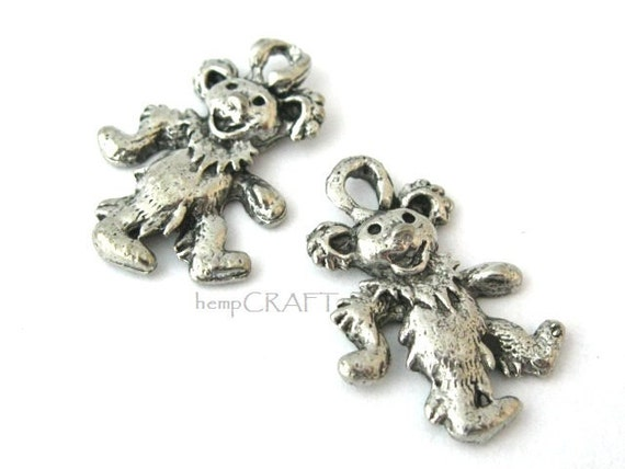 Dancing Bear Charms, Silver, Pewter, Jerry Bears, 2pc
