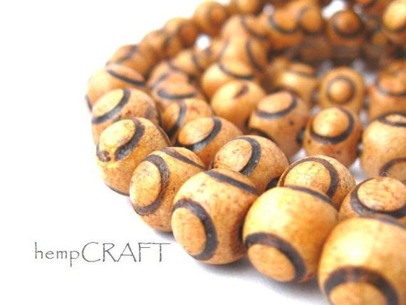 Natural Wood Beads, Circles, Light Brown, 9mm