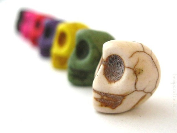 Skull Beads, Day of the Dead Multicolored Dyed Magnesite - 12pcs - Small 8x12mm