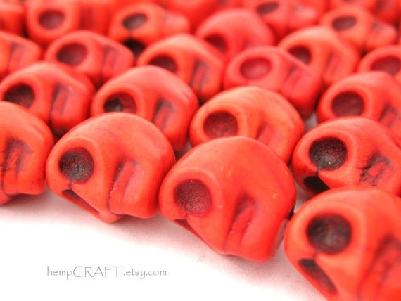 Skull Beads, Red Day of the Dead Magnesite Stone Beads - 12pcs - Small 8x12mm