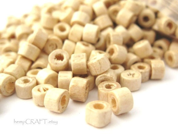 Wood Beads, Natural Wooden Tube, Small 3x4mm, 10g Lot