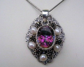Mystic Topaz and Pearls Pendant