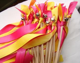 50 Wedding Wands Wood Christmas Winter Handmade Sticks Bells Streamers Bubbles Pink Yellow Birthday Party Photo Prop Bride Groom