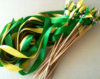50 Wedding Wands Choose your colors Sticks With Bells Streamers Bubbles Birthday Green Yellow Party Fall Outdoor