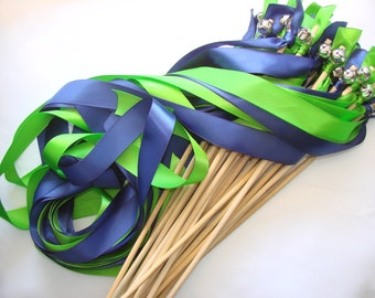 50 Wedding Wands Wood Personalized ribbon colors barn Sticks With Bells  Something Blue Streamers Bubbles Birthday Party