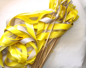 50 Wedding Wands You choose your colors yellow blue With Saying Sticks With Out Bells Streamers Bubbles Birthday Party