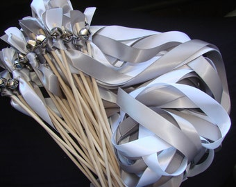 50 Wedding Wands Personalized ocean farm barm colors Sign Included Sticks With Bells  Something Blue Streamers Bubbles Birthday Party