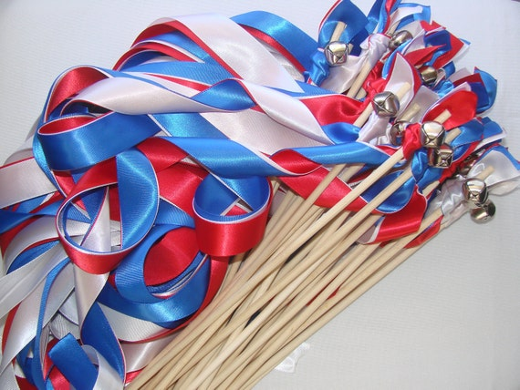 50 Wedding Wands 4th of July Flag USA Wood memorial day nautical  Summer Bells Streamers Bubbles Birthday Party Photo Prop Bride Groom