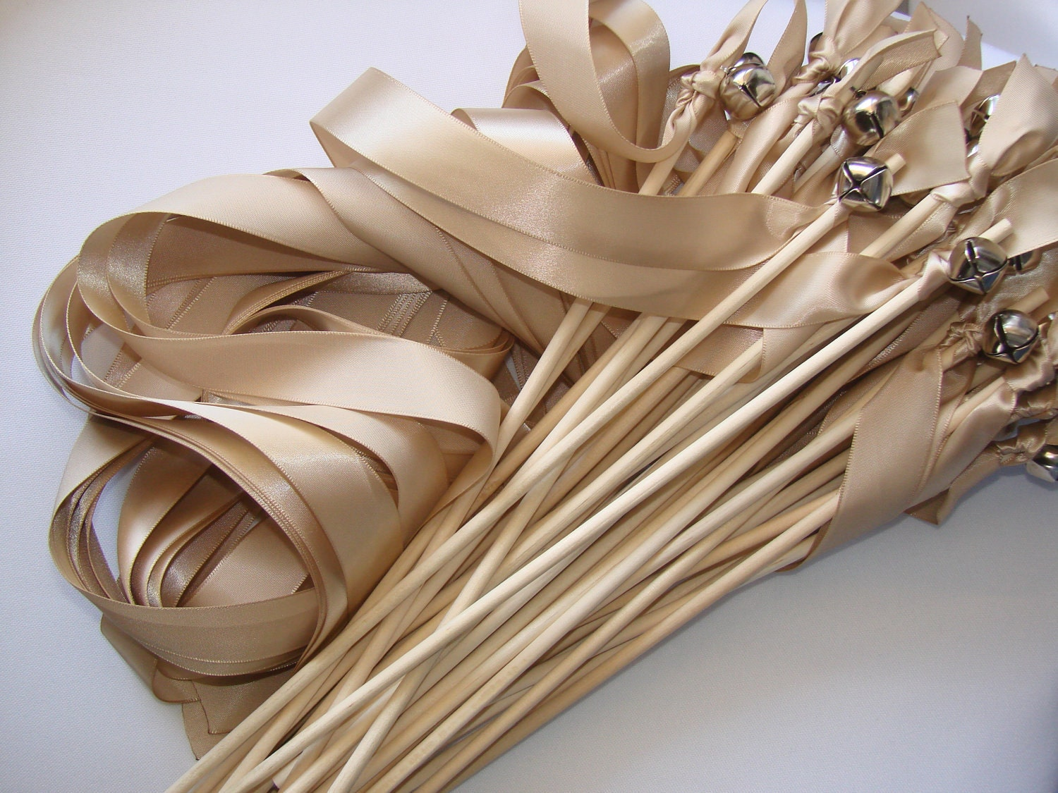 50 Wedding Wands With Bell Ribbon Wands Outdoor Ceremony Send