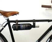 "Bicycle Wine Rack, Leather  - 1"" frame - Black"