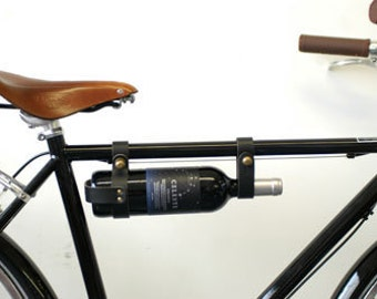 "Bicycle Wine Rack, Leather  - 1"" frame - Black"