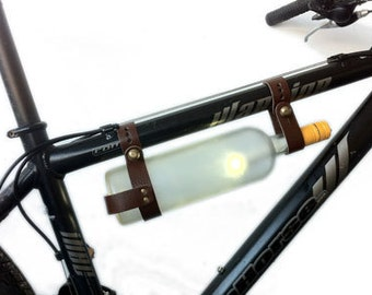 Bicycle Wine Rack Brown Leather Bike Bottle Holder