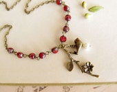 For u Mom - Antique Flower  Red Rosary  Necklace, brass leaf, brass bird, pearl