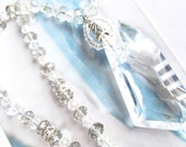 Swarovski Crystal Necklace, Gorgeous AB  Crystal, clear and grey, great for weddings and formal events