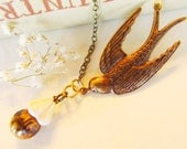 Antique Flying swallow  Charm Necklace-Amber Glass Bead-Cream Cone-Antique brass-Great Gift -Holiday  4tasteofshabbychic
