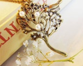 Tree Charm Necklace-Swarovski Pearl, Antique brass Finish-Brass Filigree-Inexpensive Gift for the Holiday