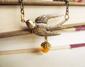 Antique Swallow charm Necklace