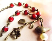 Mother's Day Gift - Red Rosary Necklace, Vintage Inspired, Twig,Bird and Pearl