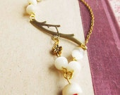 Charm necklace,  Whimsical  Antique Brass Branch Charm Necklace,czech glass beads, gold plated chain (GREAT GIFT)