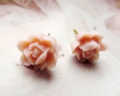 Light Pink floral Posts Earrings Feminine Pretty- weddings, bridal party