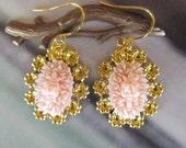 Light Soft Pink flower Earrings, adorable and pretty, great gift, sweet 16, feminine pretty  4tasteofshabbychic