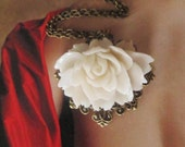 Off White Resin Flower Necklace,  Feminine Pretty, antique brass setting, Great Gift