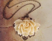 Mother's Gift -Last one - Lovely Romantic  Flower Necklace, antique bronze frame setting