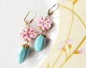 Feminine Pretty, Pastel Floral Eaarings,  blue and lavender -  Great Gift