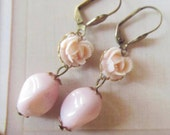 Adorable Light Pink Earrings,  Pastel colors, Feminine pretty,  great gift
