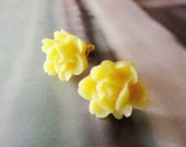 Yellow floral Posts Earrings-Feminine Pretty-Sweet 16-Great Gift- weddings, bridal party
