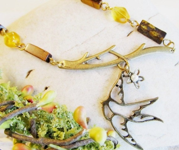 SALLY Whimsical  Bird Necklace