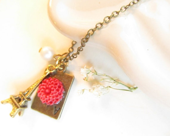 Paris Charm Necklace, Eiffel tower, off white pearl, resin flower, brass filigree, lovely necklace
