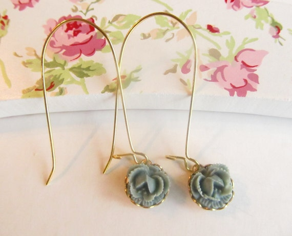 Lovely Grayish Blue Rose LONG  Earrings