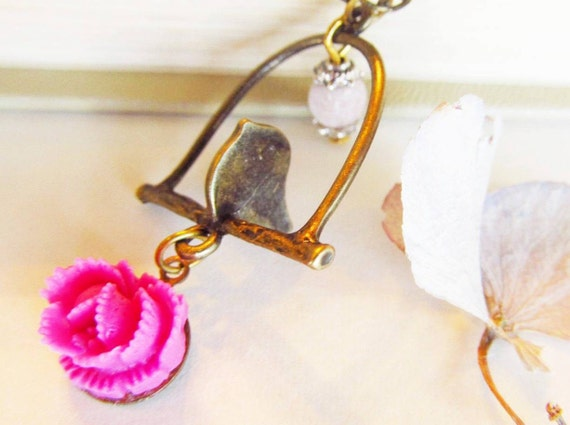 Charm Necklace Brass Bird Light Pink Marble-Pink Cabbage Rose, Antique Brass Chain-Great Gift-Inexpensive Gift for the Holiday